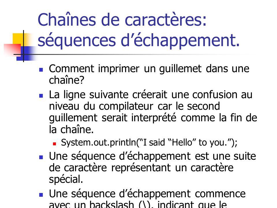 Chaînes de caractères: séquences déchappement. Comment imprimer un guillemet dans une chaîne? La ligne suivante créerait une confusion au niveau du co