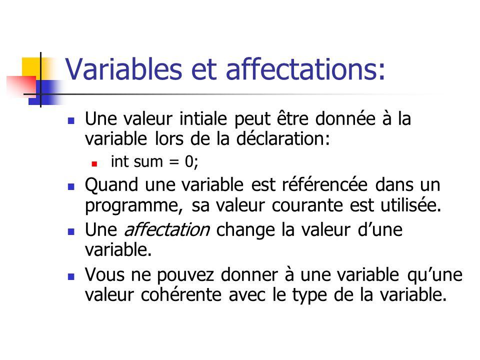 Variables et affectations: Une valeur intiale peut être donnée à la variable lors de la déclaration: int sum = 0; Quand une variable est référencée da