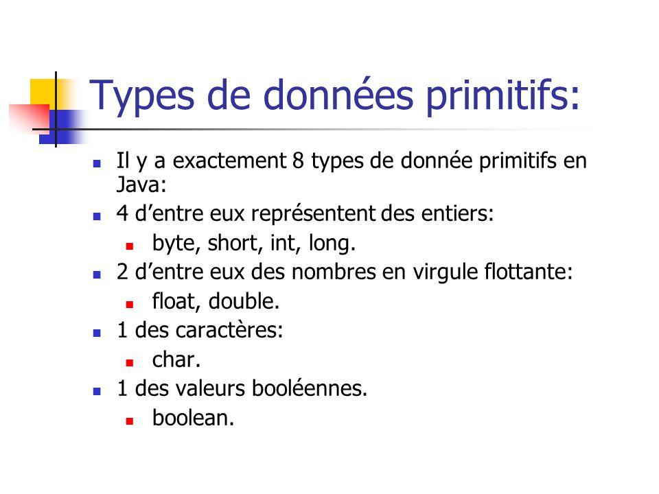 Types de données primitifs: Il y a exactement 8 types de donnée primitifs en Java: 4 dentre eux représentent des entiers: byte, short, int, long. 2 de