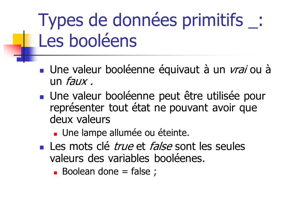Types de données primitifs _: Les booléens Une valeur booléenne équivaut à un vrai ou à un faux. Une valeur booléenne peut être utilisée pour représen