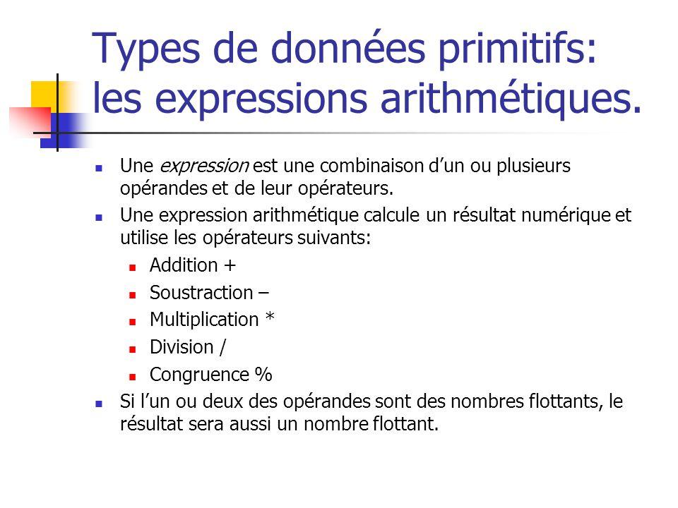 Types de données primitifs: les expressions arithmétiques. Une expression est une combinaison dun ou plusieurs opérandes et de leur opérateurs. Une ex