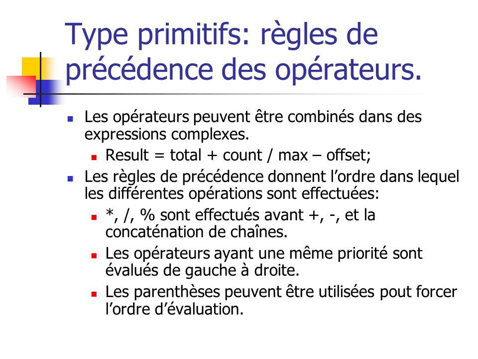 Type primitifs: règles de précédence des opérateurs. Les opérateurs peuvent être combinés dans des expressions complexes. Result = total + count / max