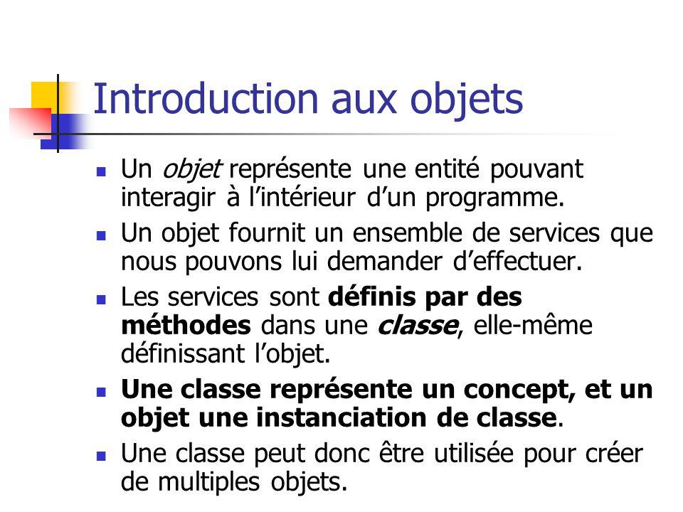 Introduction aux objets Un objet représente une entité pouvant interagir à lintérieur dun programme. Un objet fournit un ensemble de services que nous