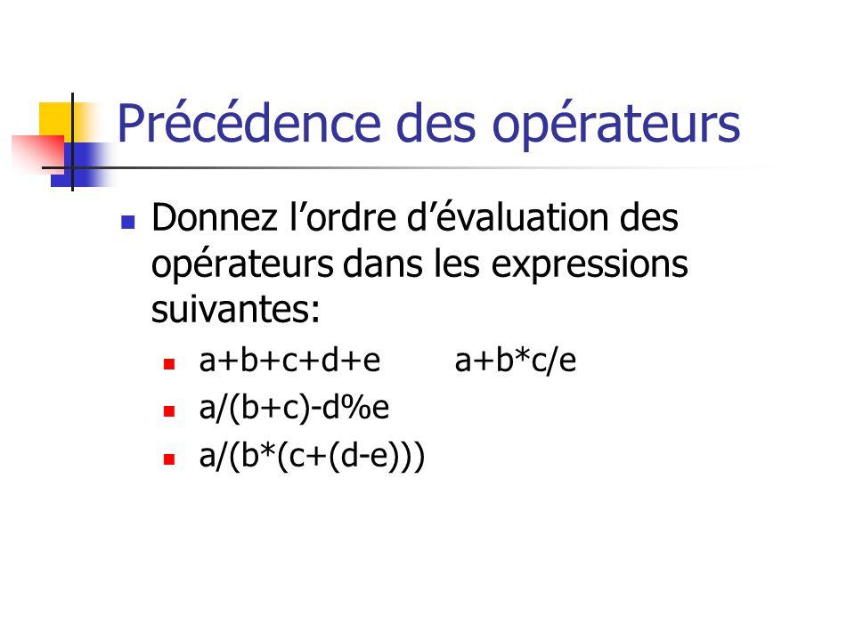 Précédence des opérateurs Donnez lordre dévaluation des opérateurs dans les expressions suivantes: a+b+c+d+ea+b*c/e a/(b+c)-d%e a/(b*(c+(d-e)))