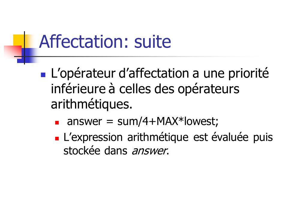 Affectation: suite Lopérateur daffectation a une priorité inférieure à celles des opérateurs arithmétiques. answer = sum/4+MAX*lowest; Lexpression ari