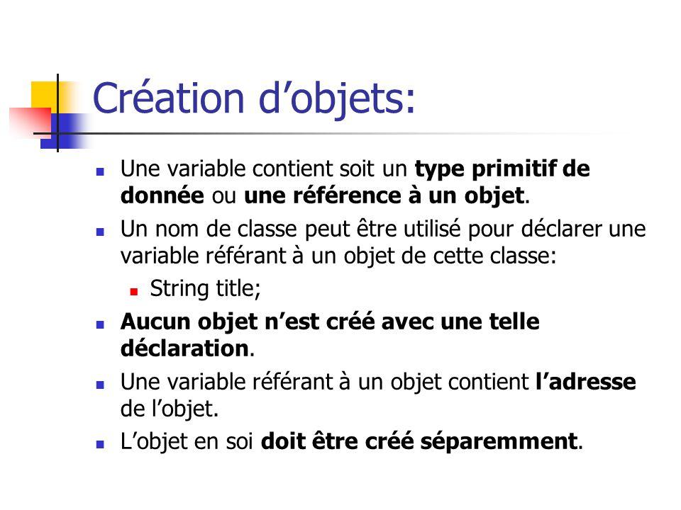 Création dobjets: Une variable contient soit un type primitif de donnée ou une référence à un objet. Un nom de classe peut être utilisé pour déclarer