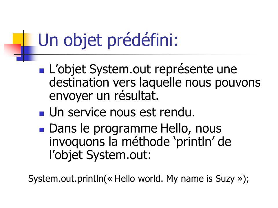 Un objet prédéfini: Lobjet System.out représente une destination vers laquelle nous pouvons envoyer un résultat. Un service nous est rendu. Dans le pr
