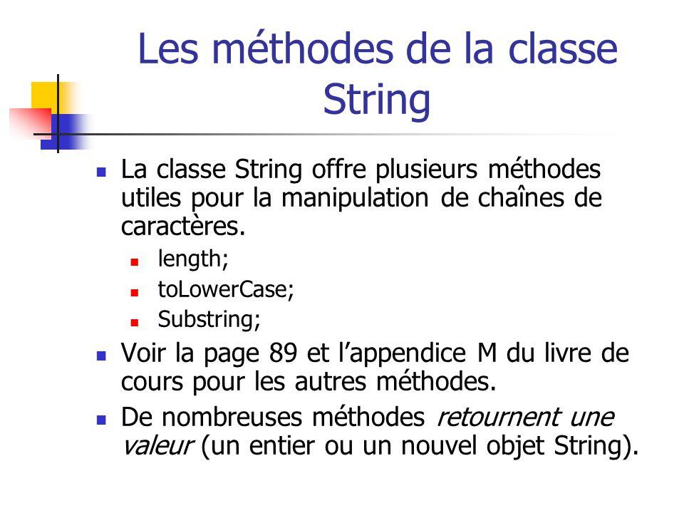 Les méthodes de la classe String La classe String offre plusieurs méthodes utiles pour la manipulation de chaînes de caractères. length; toLowerCase;
