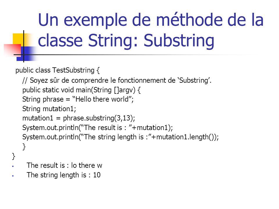 Un exemple de méthode de la classe String: Substring public class TestSubstring { // Soyez sûr de comprendre le fonctionnement de Substring. public st