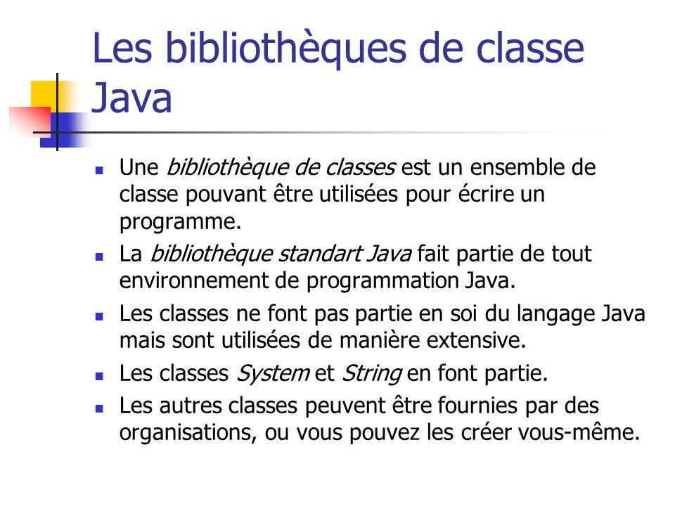 Les bibliothèques de classe Java Une bibliothèque de classes est un ensemble de classe pouvant être utilisées pour écrire un programme. La bibliothèqu