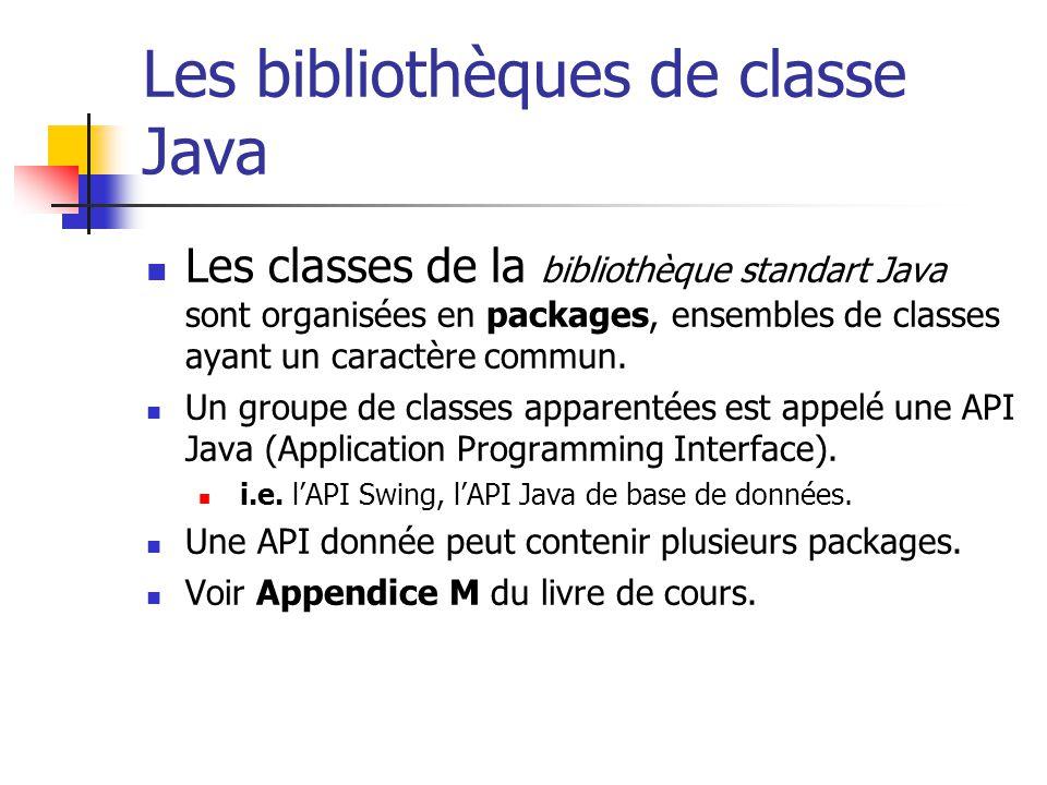 Les bibliothèques de classe Java Les classes de la bibliothèque standart Java sont organisées en packages, ensembles de classes ayant un caractère com