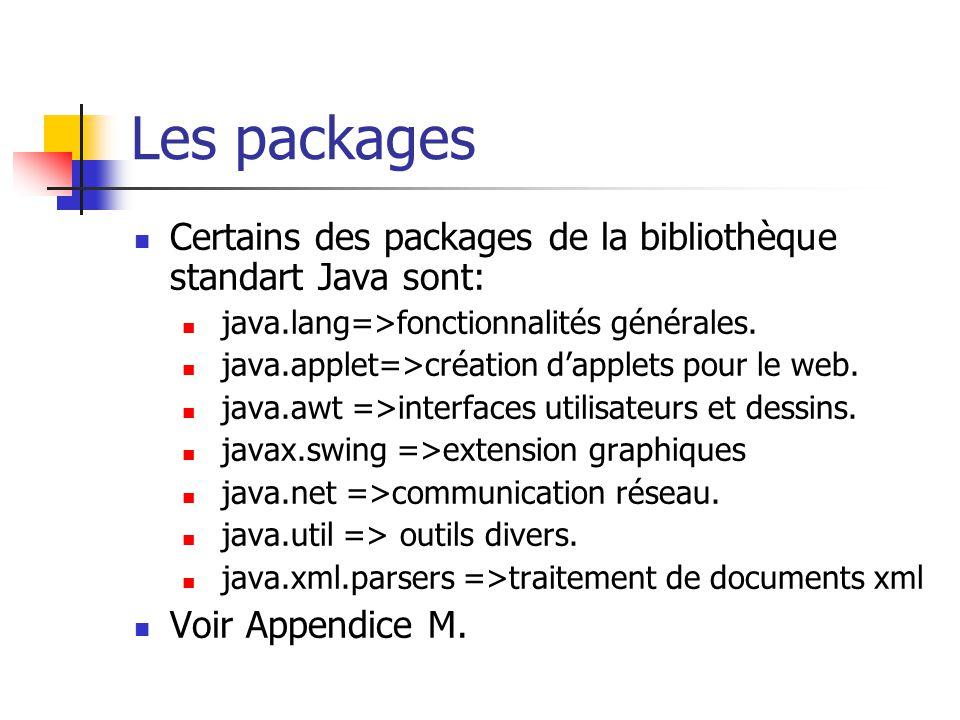 Les packages Certains des packages de la bibliothèque standart Java sont: java.lang=>fonctionnalités générales. java.applet=>création dapplets pour le