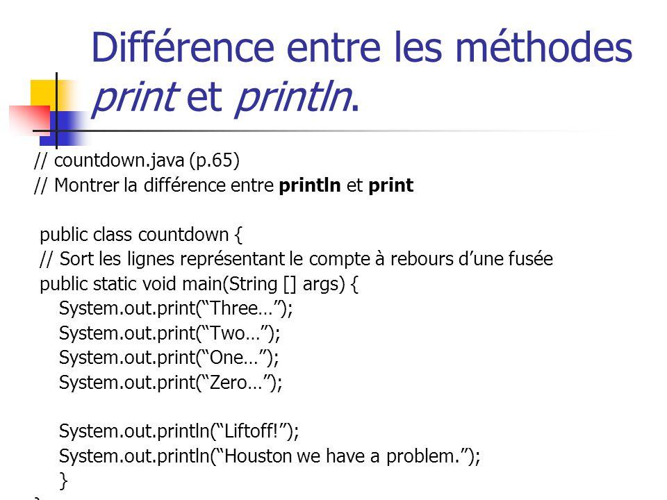 Différence entre les méthodes print et println. // countdown.java (p.65) // Montrer la différence entre println et print public class countdown { // S