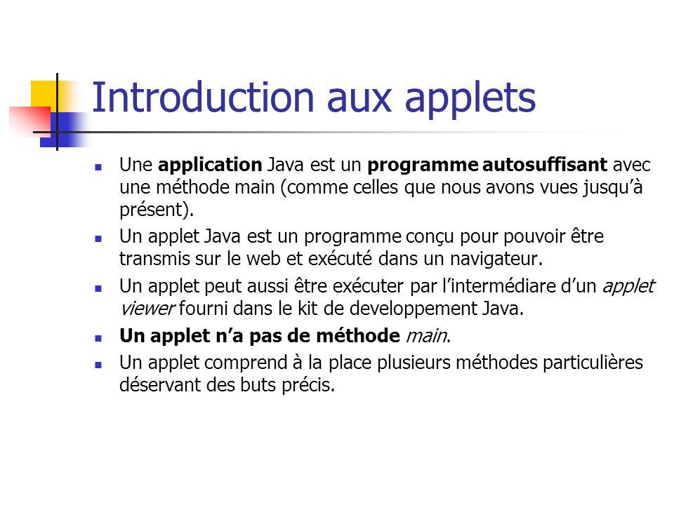 Introduction aux applets Une application Java est un programme autosuffisant avec une méthode main (comme celles que nous avons vues jusquà présent).