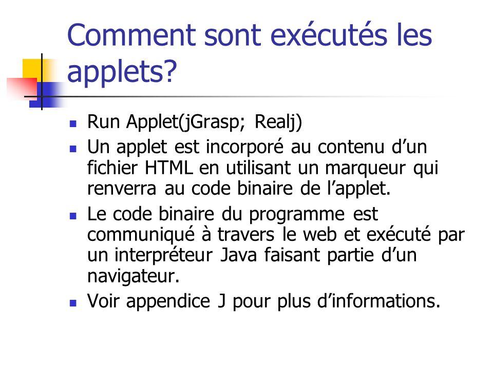 Comment sont exécutés les applets? Run Applet(jGrasp; Realj) Un applet est incorporé au contenu dun fichier HTML en utilisant un marqueur qui renverra