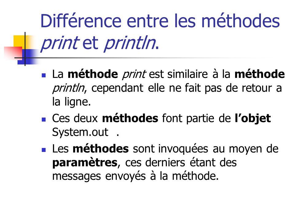 Différence entre les méthodes print et println. La méthode print est similaire à la méthode println, cependant elle ne fait pas de retour a la ligne.