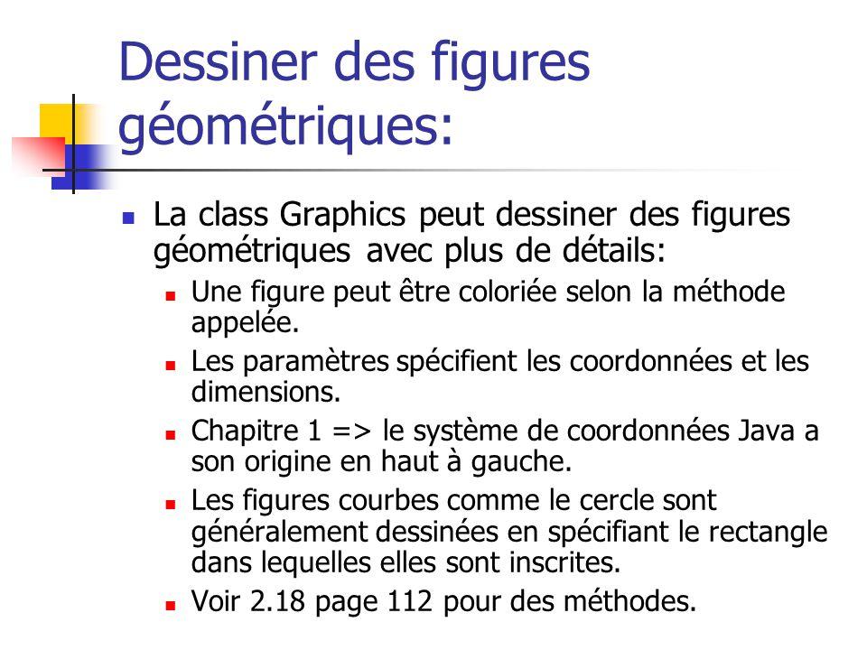 Dessiner des figures géométriques: La class Graphics peut dessiner des figures géométriques avec plus de détails: Une figure peut être coloriée selon