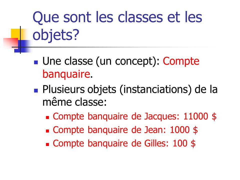Que sont les classes et les objets? Une classe (un concept): Compte banquaire. Plusieurs objets (instanciations) de la même classe: Compte banquaire d