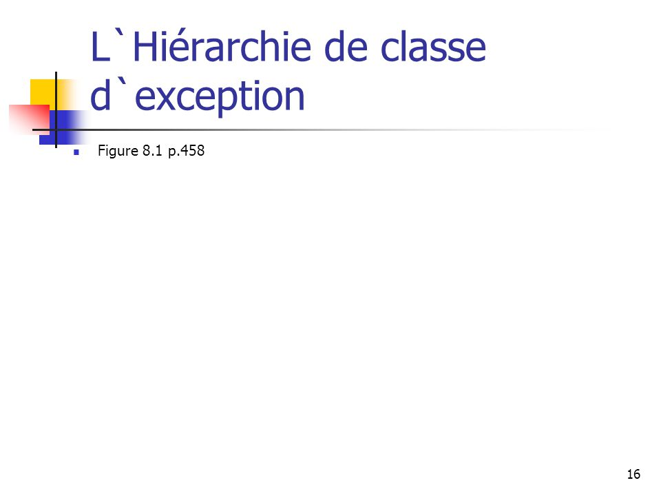 17 Prise en charge d`Exception : la commande throw Un programmeur peut définir une exception par extension de la classe Exception class ou l`un de ces descendants Les exceptions sont lancé en utilisant la commande thrown En général un commande throw est intégré dans un commande if qui évalue la condition pour voir si une exception devrait être lancée See CreatingExceptions.java (page xxx) CreatingExceptions.java See OutOfRangeException.java (page xxx) OutOfRangeException.java