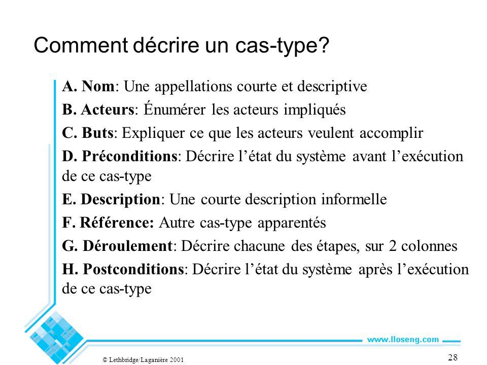 28 Comment décrire un cas-type. A. Nom: Une appellations courte et descriptive B.