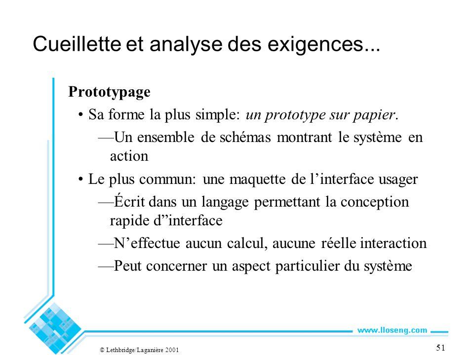 © Lethbridge/Laganière 2001 51 Cueillette et analyse des exigences...