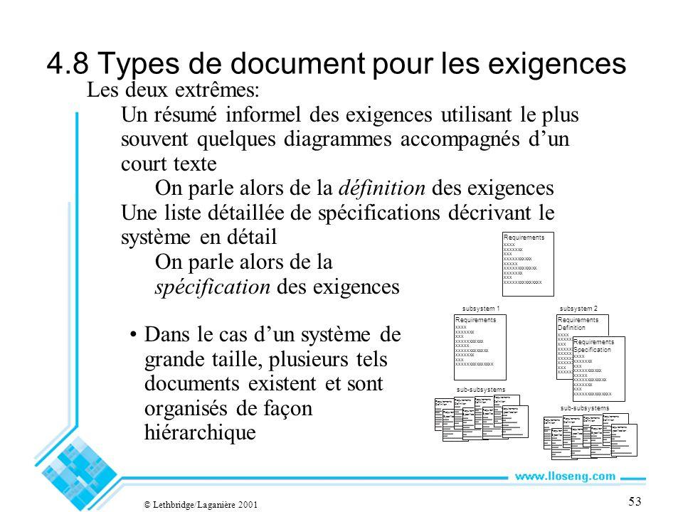 © Lethbridge/Laganière 2001 53 4.8 Types de document pour les exigences Dans le cas dun système de grande taille, plusieurs tels documents existent et sont organisés de façon hiérarchique Requirements Specification xxxx xxxxxxx xxx xxxxxxxxxxx xxxxx xxxxxxxxxxxxx xxxxxxx xxx xxxxxxxxxxxxxxx Requirements Definition xxxx xxxxxxx xxx xxxxxxxxxxx xxxxx xxxxxxxxxxxxx xxxxxxx xxx xxxxxxxxxxxxxxx Requirements Specification xxxx xxxxxxx xxx xxxxxxxxxxx xxxxx xxxxxxxxxxxxx xxxxxxx xxx xxxxxxxxxxxxxxx Requirements Definition xxxx xxxxxxx xxx xxxxxxxxxxx xxxxx xxxxxxxxxxxxx xxxxxxx xxx xxxxxxxxxxxxxxx Requirements Specification xxxx xxxxxxx xxx xxxxxxxxxxx xxxxx xxxxxxxxxxxxx xxxxxxx xxx xxxxxxxxxxxxxxx Les deux extrêmes: Un résumé informel des exigences utilisant le plus souvent quelques diagrammes accompagnés dun court texte On parle alors de la définition des exigences Une liste détaillée de spécifications décrivant le système en détail On parle alors de la spécification des exigences