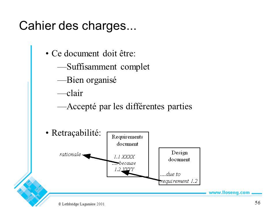 © Lethbridge/Laganière 2001 56 Cahier des charges...