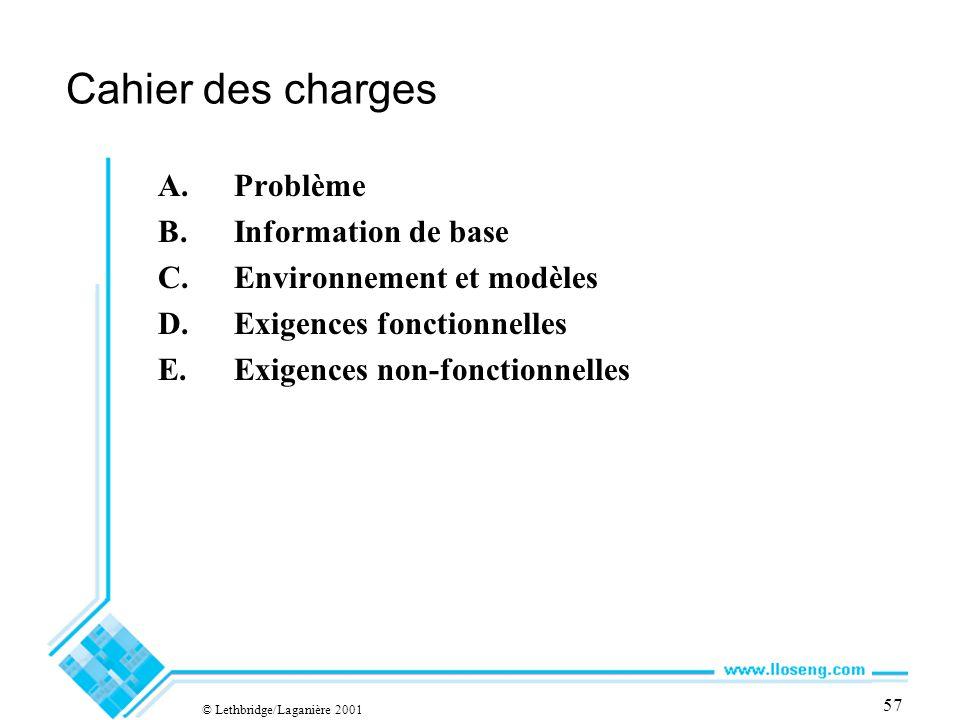 © Lethbridge/Laganière 2001 57 Cahier des charges A.Problème B.Information de base C.Environnement et modèles D.Exigences fonctionnelles E.Exigences non-fonctionnelles