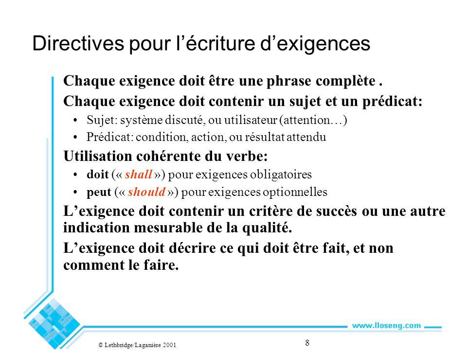8 Directives pour lécriture dexigences Chaque exigence doit être une phrase complète.
