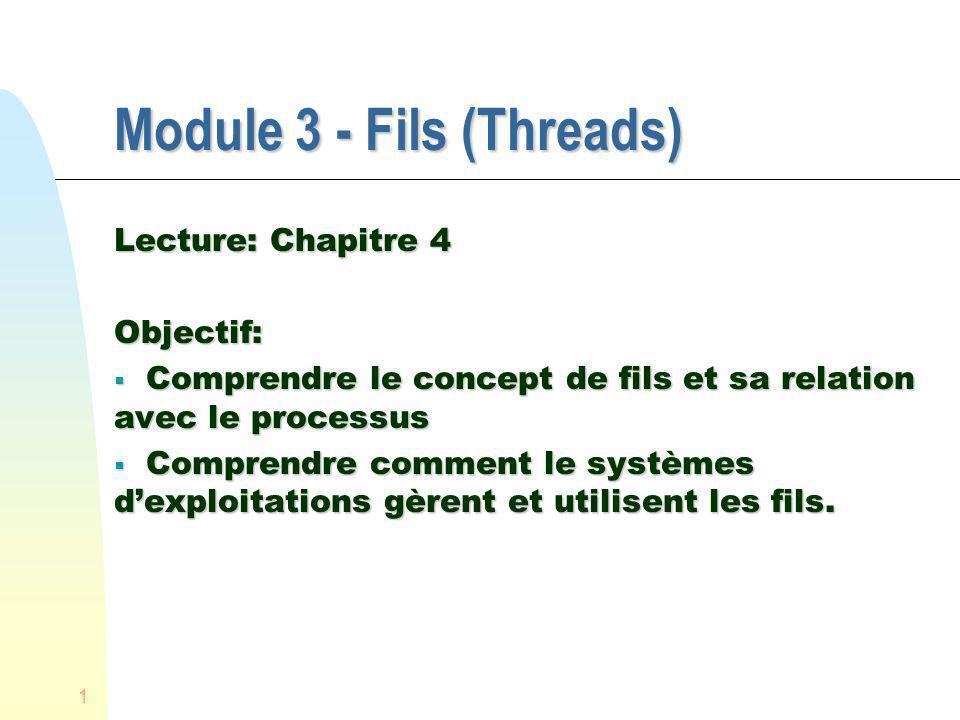 1 Module 3 - Fils (Threads) Lecture: Chapitre 4 Objectif: Comprendre le concept de fils et sa relation avec le processus Comprendre le concept de fils