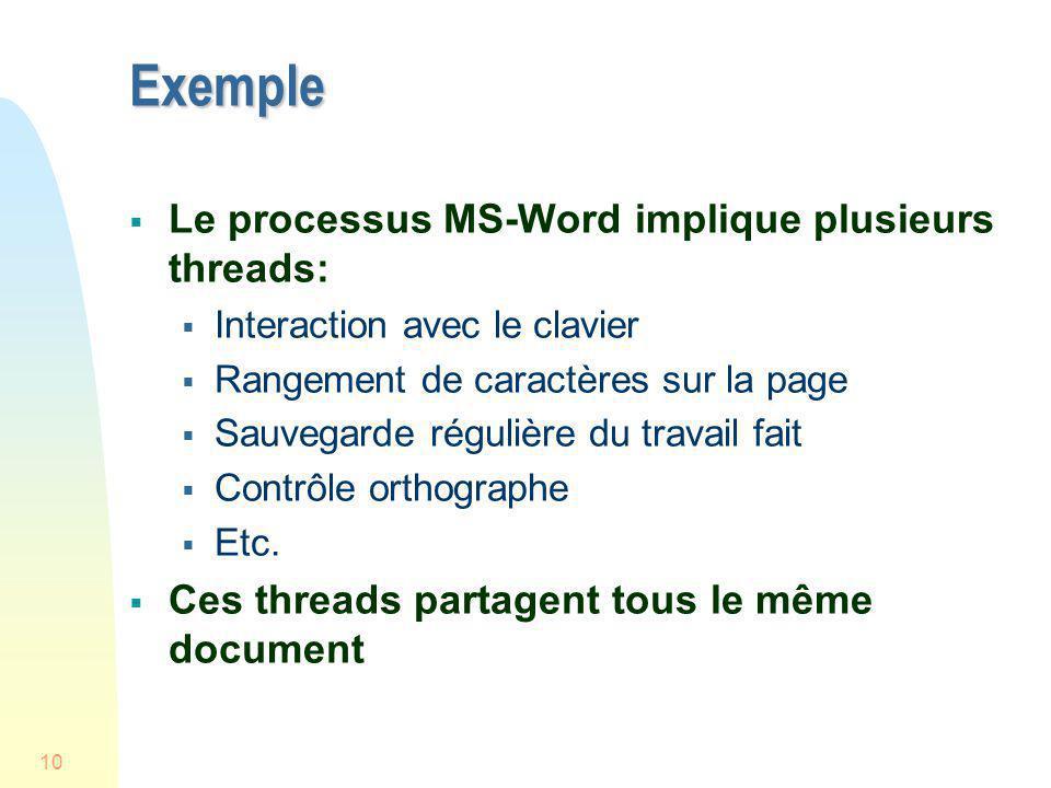 10 Exemple Le processus MS-Word implique plusieurs threads: Interaction avec le clavier Rangement de caractères sur la page Sauvegarde régulière du tr