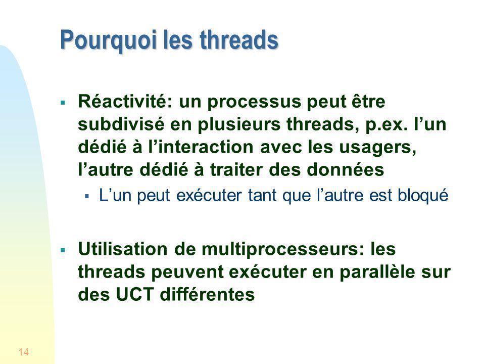 14 Pourquoi les threads Réactivité: un processus peut être subdivisé en plusieurs threads, p.ex. lun dédié à linteraction avec les usagers, lautre déd