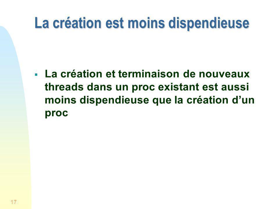 17 La création est moins dispendieuse La création et terminaison de nouveaux threads dans un proc existant est aussi moins dispendieuse que la créatio
