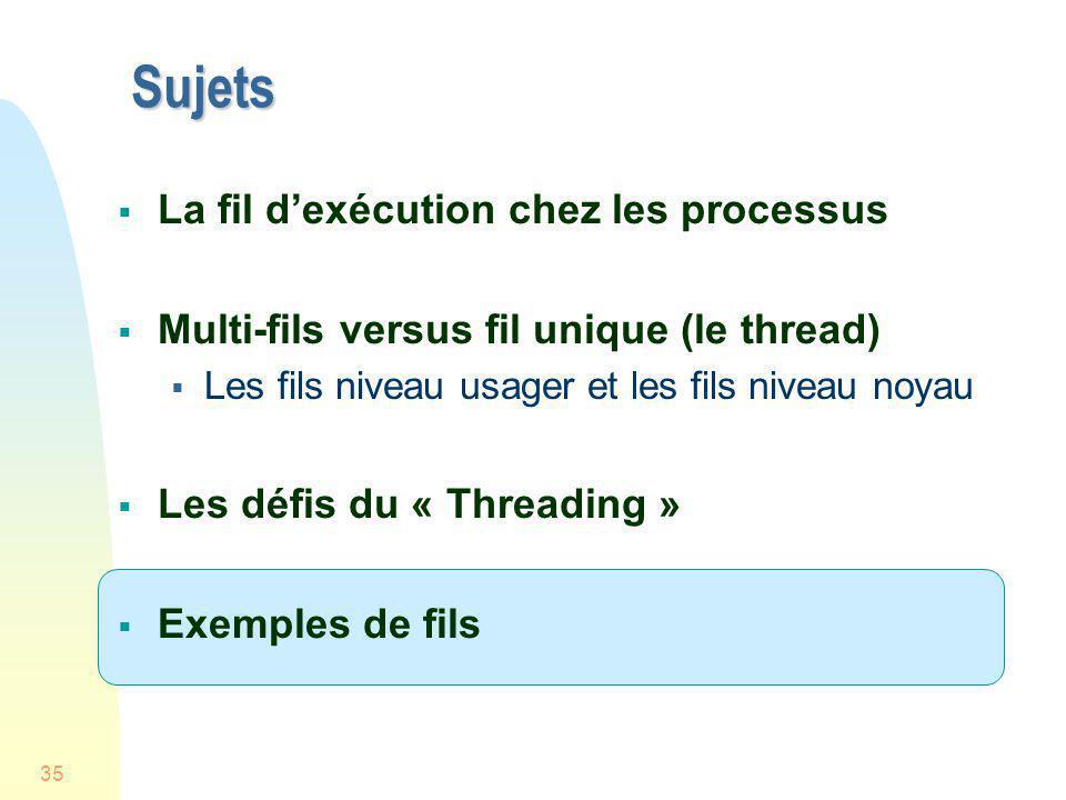 35 Sujets La fil dexécution chez les processus Multi-fils versus fil unique (le thread) Les fils niveau usager et les fils niveau noyau Les défis du «