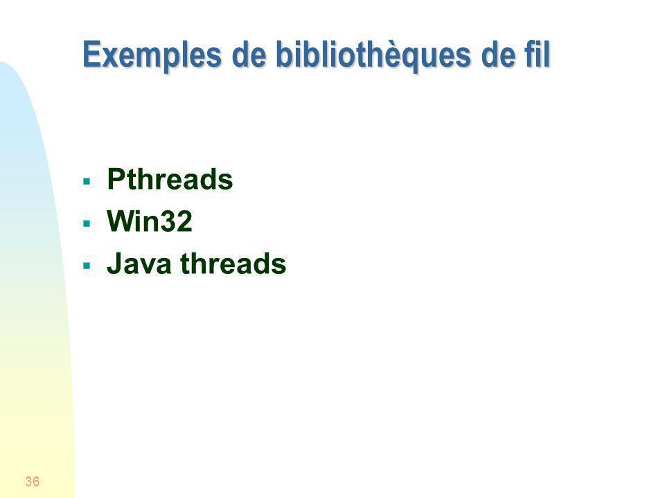36 Exemples de bibliothèques de fil Pthreads Win32 Java threads