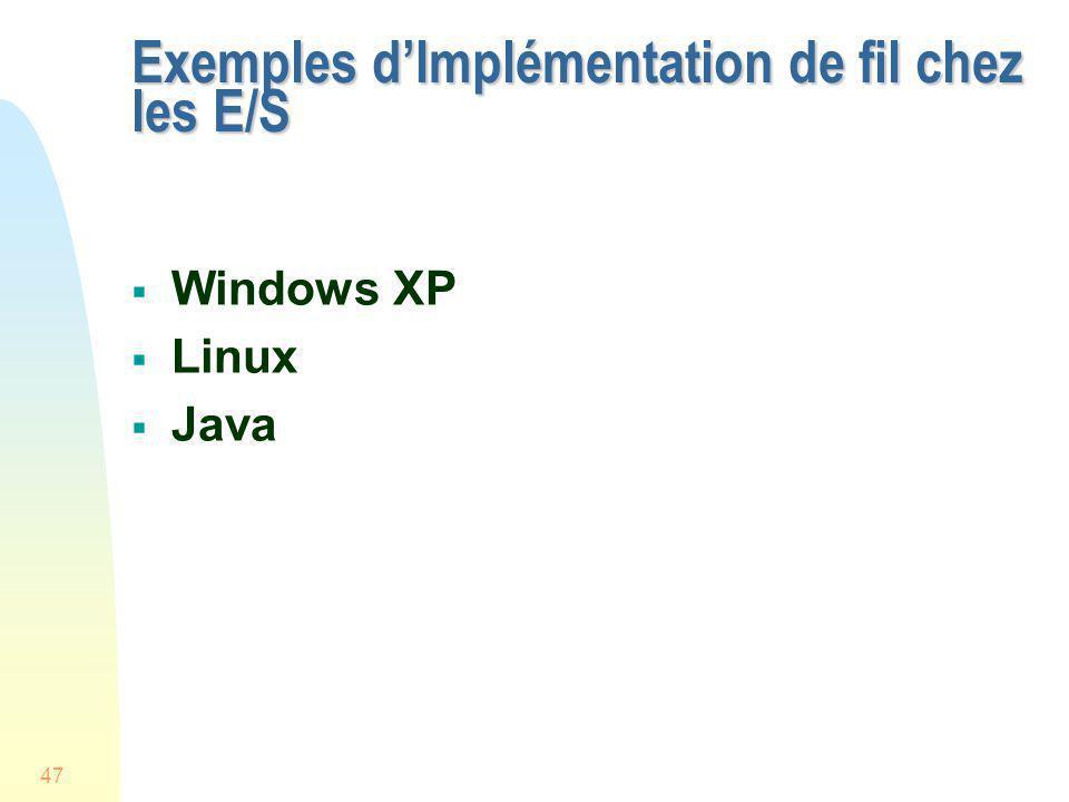 47 Exemples dImplémentation de fil chez les E/S Windows XP Linux Java