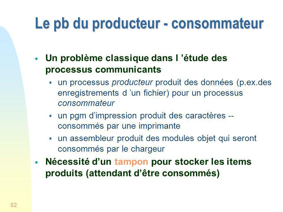 52 Le pb du producteur - consommateur Un problème classique dans l étude des processus communicants un processus producteur produit des données (p.ex.