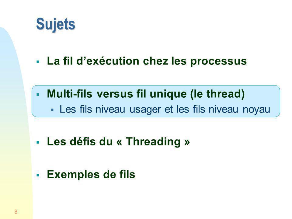 8 Sujets La fil dexécution chez les processus Multi-fils versus fil unique (le thread) Les fils niveau usager et les fils niveau noyau Les défis du «