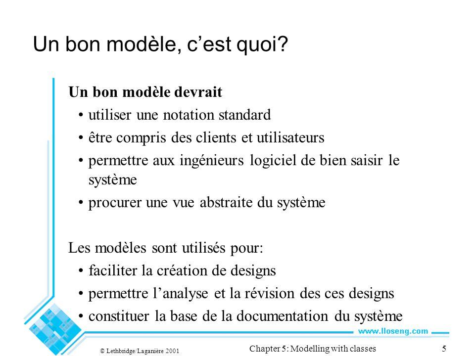 © Lethbridge/Laganière 2001 Chapter 5: Modelling with classes46 Les opérations sur les collections OpérationUsage isEmptyaCollection->isEmpty() notEmptyaCollection-> notEmpty () includesaCollection->includes(anObject) excludesaCollection->excludes(anObject) sumaCollectionOfNumbers->sum() existsaCollection->exists(booleanExpression) sizeaCollection->size()
