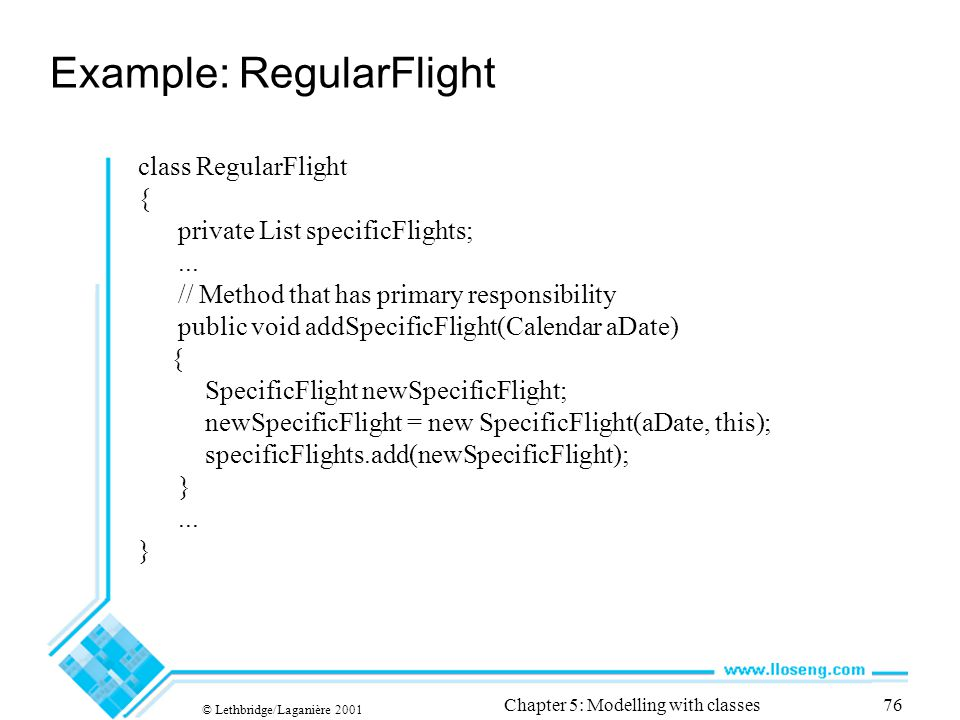 © Lethbridge/Laganière 2001 Chapter 5: Modelling with classes76 class RegularFlight { private List specificFlights;...