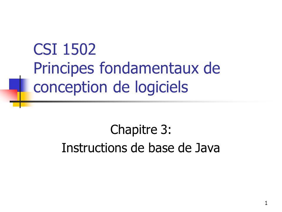 1 CSI 1502 Principes fondamentaux de conception de logiciels Chapitre 3: Instructions de base de Java