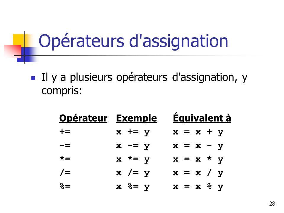 28 Opérateurs d assignation Il y a plusieurs opérateurs d assignation, y compris: OpérateurExempleÉquivalent à +=x += yx = x + y -=x -= yx = x - y *=x *= yx = x * y /=x /= yx = x / y %=x %= yx = x % y