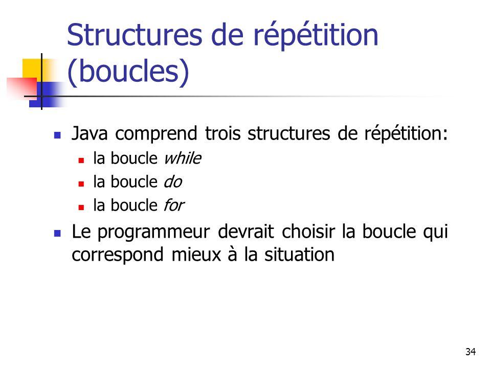 34 Structures de répétition (boucles) Java comprend trois structures de répétition: la boucle while la boucle do la boucle for Le programmeur devrait choisir la boucle qui correspond mieux à la situation