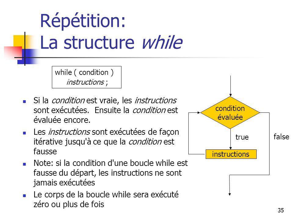 35 Répétition: La structure while Si la condition est vraie, les instructions sont exécutées.