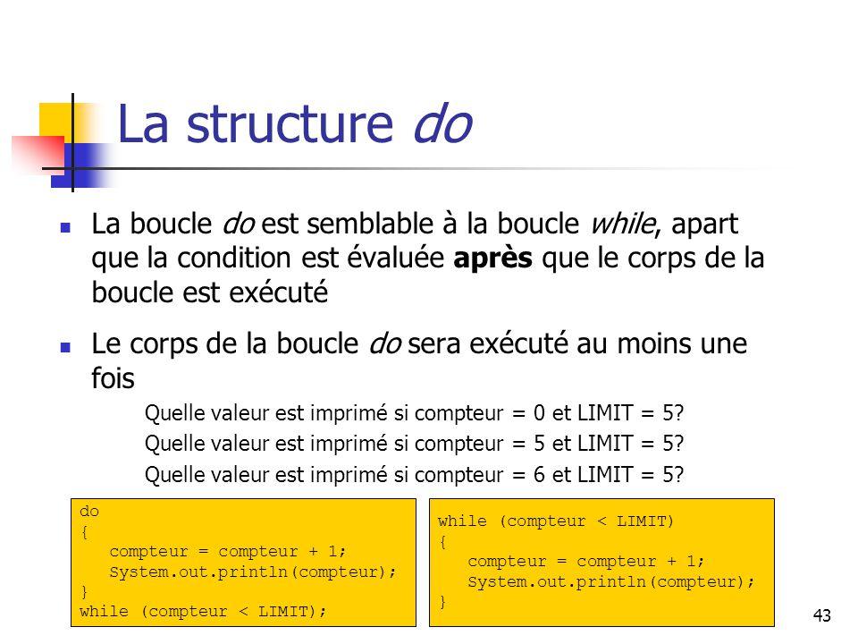 43 La structure do La boucle do est semblable à la boucle while, apart que la condition est évaluée après que le corps de la boucle est exécuté Le corps de la boucle do sera exécuté au moins une fois Quelle valeur est imprimé si compteur = 0 et LIMIT = 5.