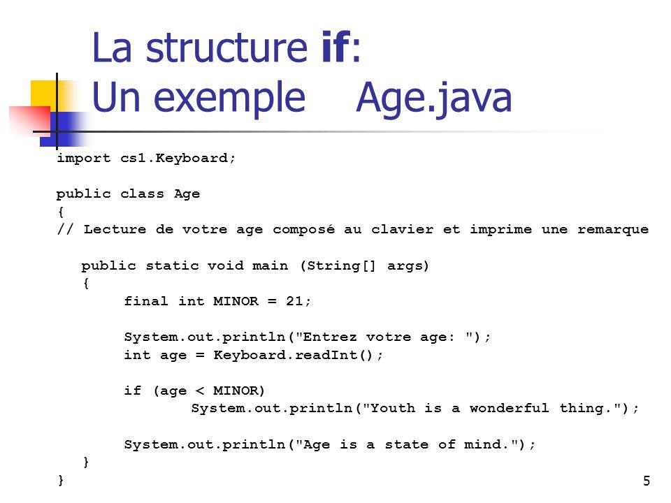 5 La structure if: Un exemple Age.java import cs1.Keyboard; public class Age { // Lecture de votre age composé au clavier et imprime une remarque public static void main (String[] args) { final int MINOR = 21; System.out.println( Entrez votre age: ); int age = Keyboard.readInt(); if (age < MINOR) System.out.println( Youth is a wonderful thing. ); System.out.println( Age is a state of mind. ); }