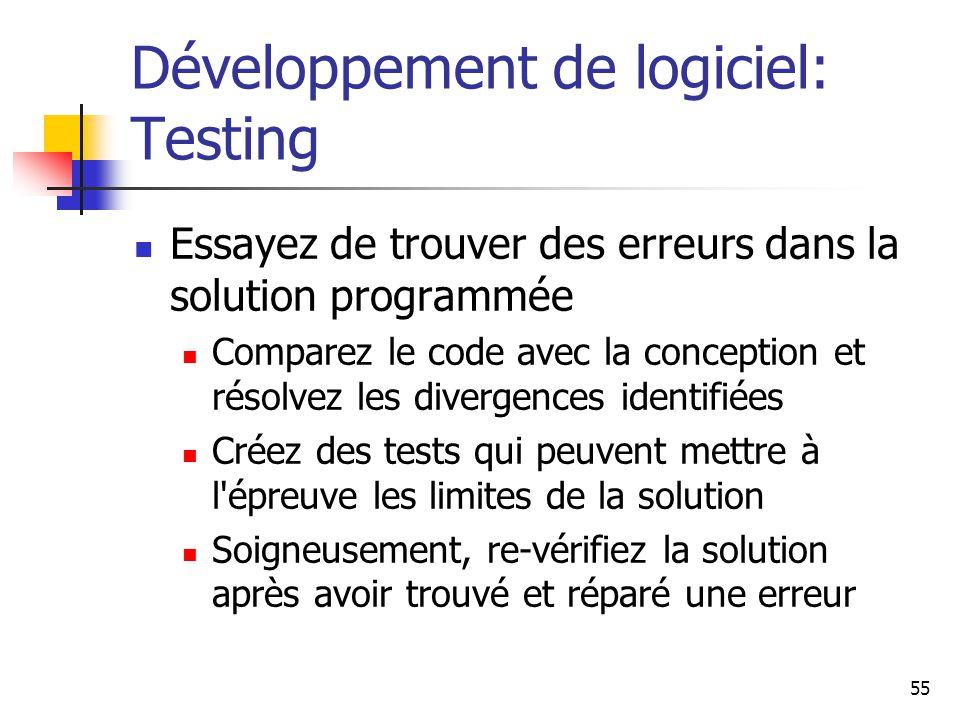 55 Développement de logiciel: Testing Essayez de trouver des erreurs dans la solution programmée Comparez le code avec la conception et résolvez les divergences identifiées Créez des tests qui peuvent mettre à l épreuve les limites de la solution Soigneusement, re-vérifiez la solution après avoir trouvé et réparé une erreur