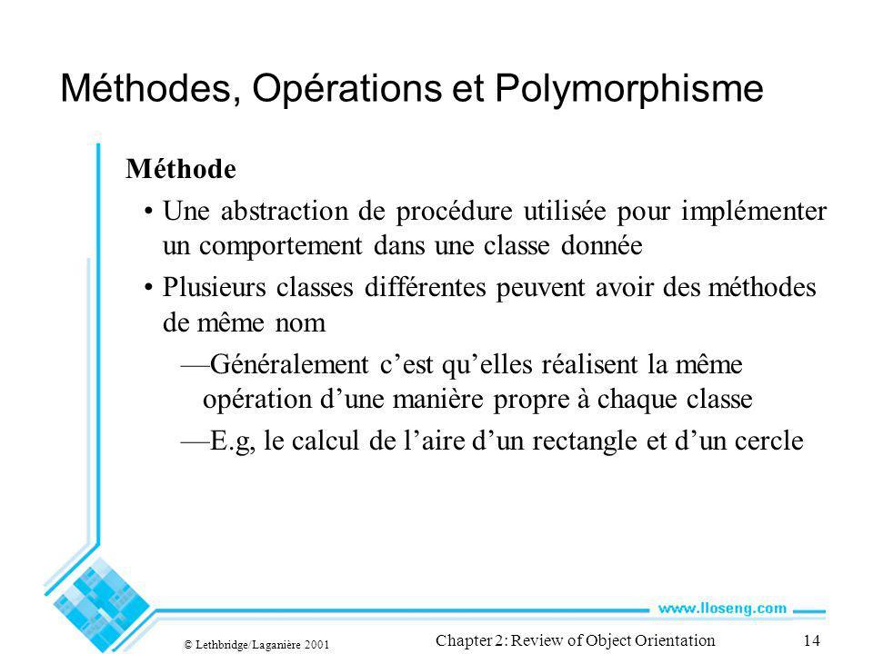 © Lethbridge/Laganière 2001 Chapter 2: Review of Object Orientation14 Méthodes, Opérations et Polymorphisme Méthode Une abstraction de procédure utili