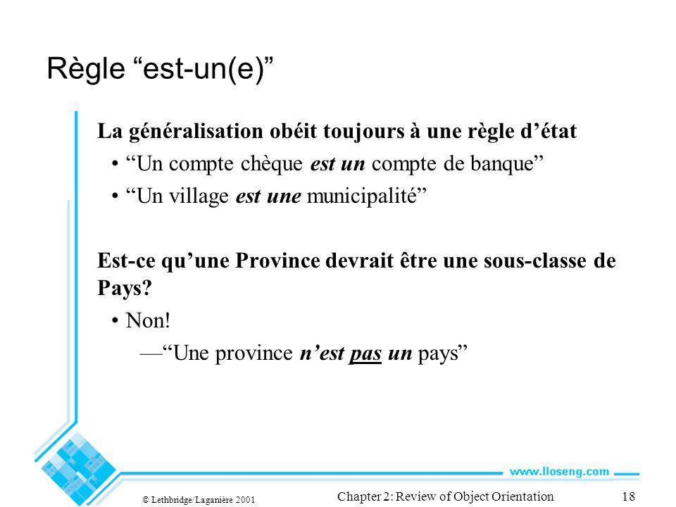 © Lethbridge/Laganière 2001 Chapter 2: Review of Object Orientation18 Règle est-un(e) La généralisation obéit toujours à une règle détat Un compte chè