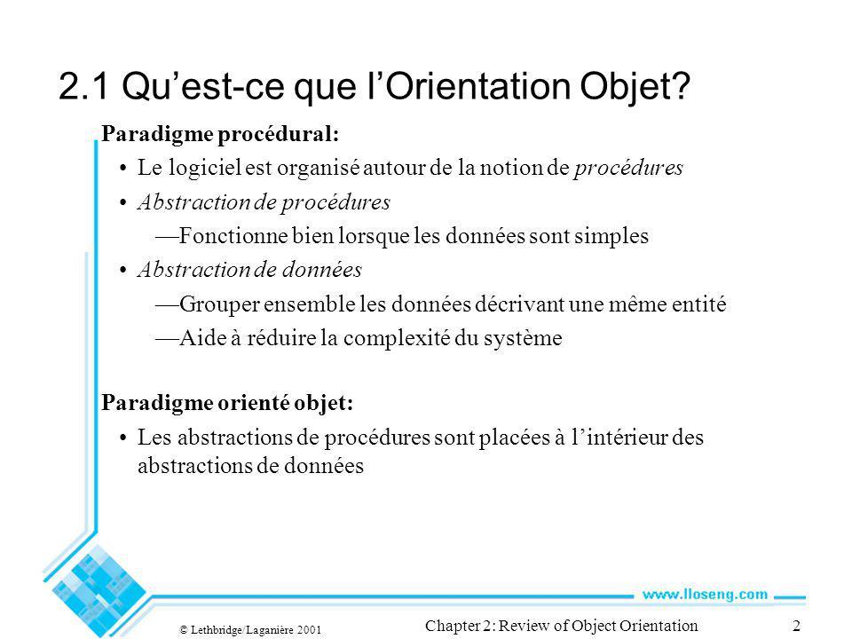 © Lethbridge/Laganière 2001 Chapter 2: Review of Object Orientation2 2.1 Quest-ce que lOrientation Objet? Paradigme procédural: Le logiciel est organi
